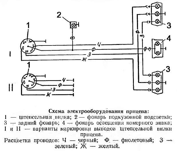 Прицепа электрическая схема