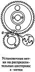 Правильность фаз распределения обеспечивается установкой шестерни по меткам