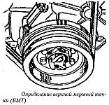 Метки на шкиве коленчатого вала и диске демпфера ЗМЗ-4021, определение ВМТ