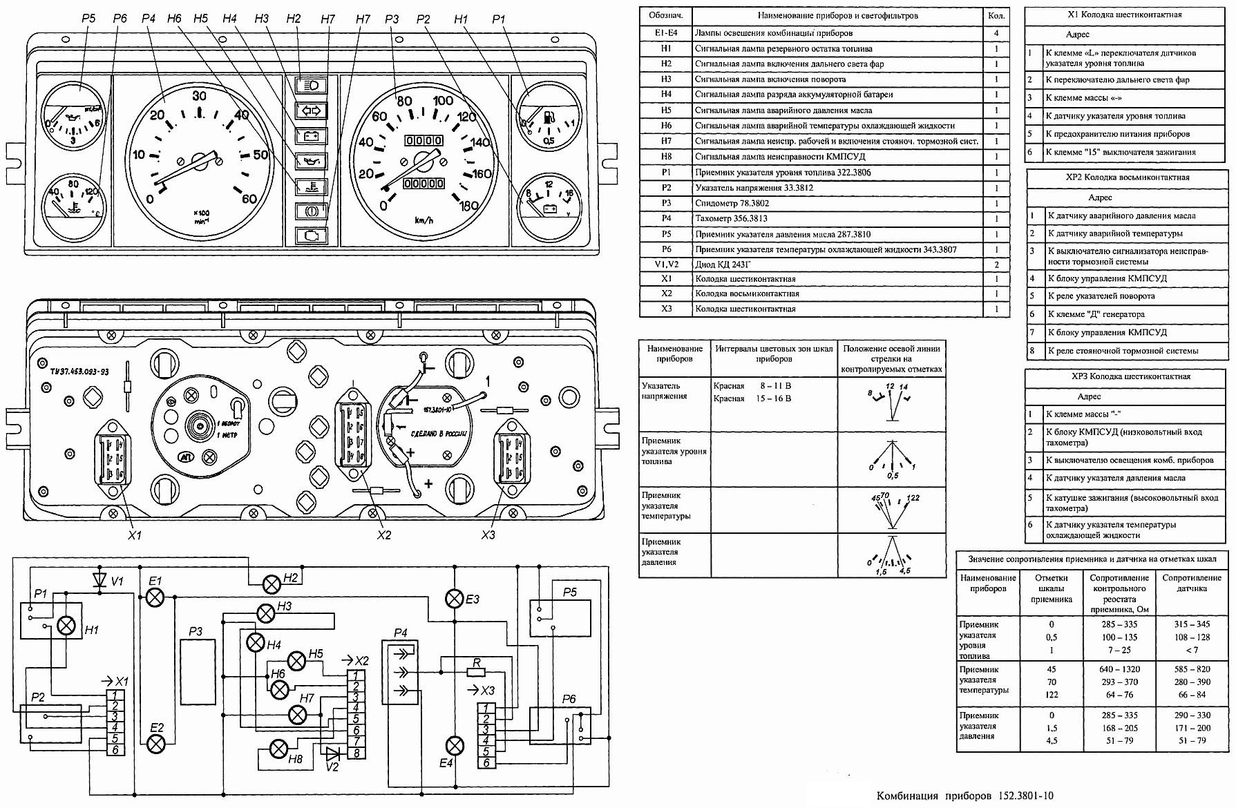 Схема подключения комбинации приборов на 21146