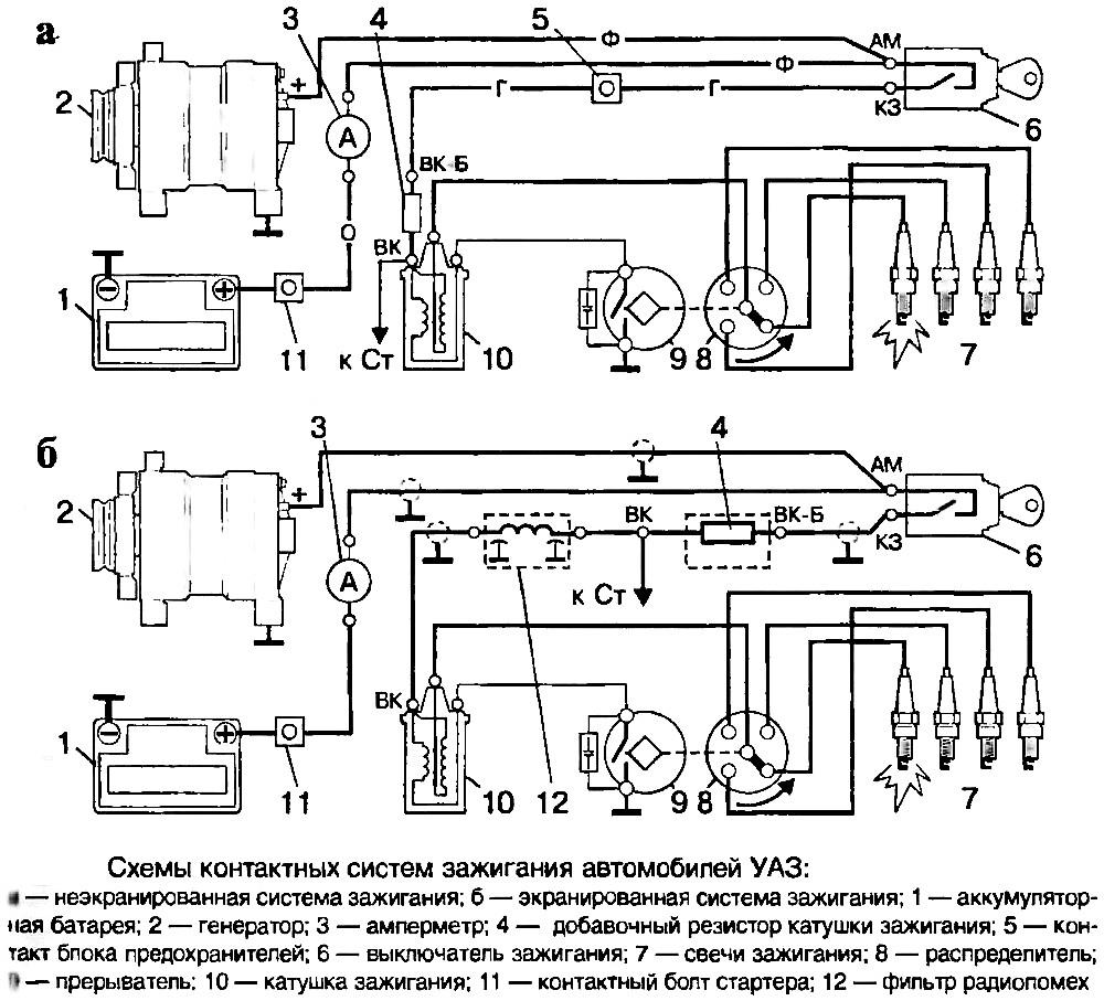 Схема подключения катушки зажигания уаз 469 контактное