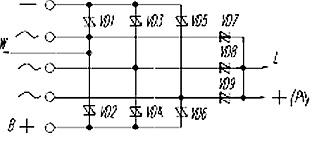 Электрическая схема генераторного выпрямительного ограничительного блока БВО3-105-05