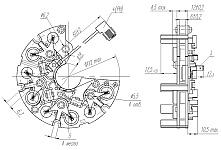 Габаритных чертеж, установочные и присоединительные размеры выпрямительного ограничительного блока БВО3-105-06