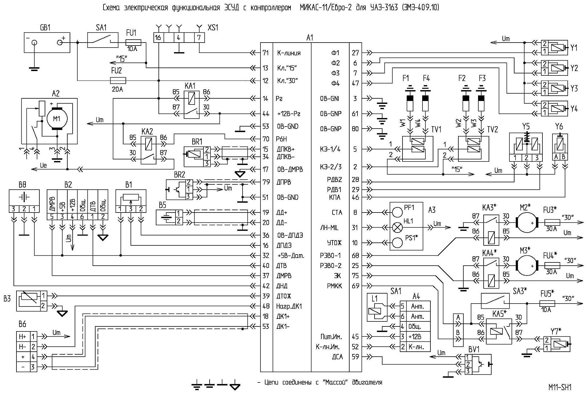 Схема управления двигателем на микас 7.1