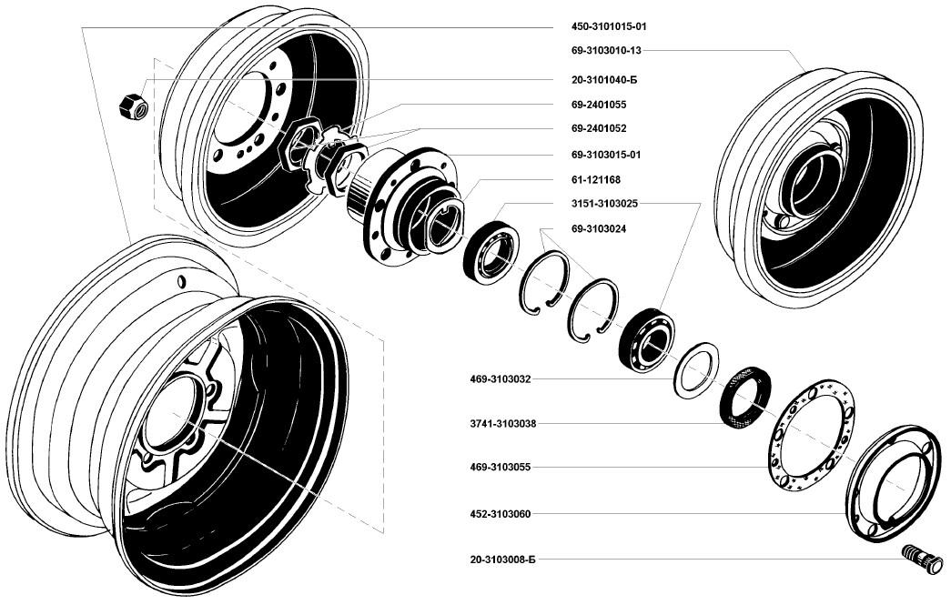 Колеса и шины автомобиля УАЗ469
