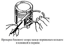 Замерить щупом боковой зазор между компрессионными кольцами и стенкой поршневой канавки