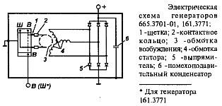 Электрическая схема генераторов 665.3701-01 и 161.3771