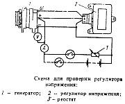 Схема для проверки регулятора напряжения РР132А