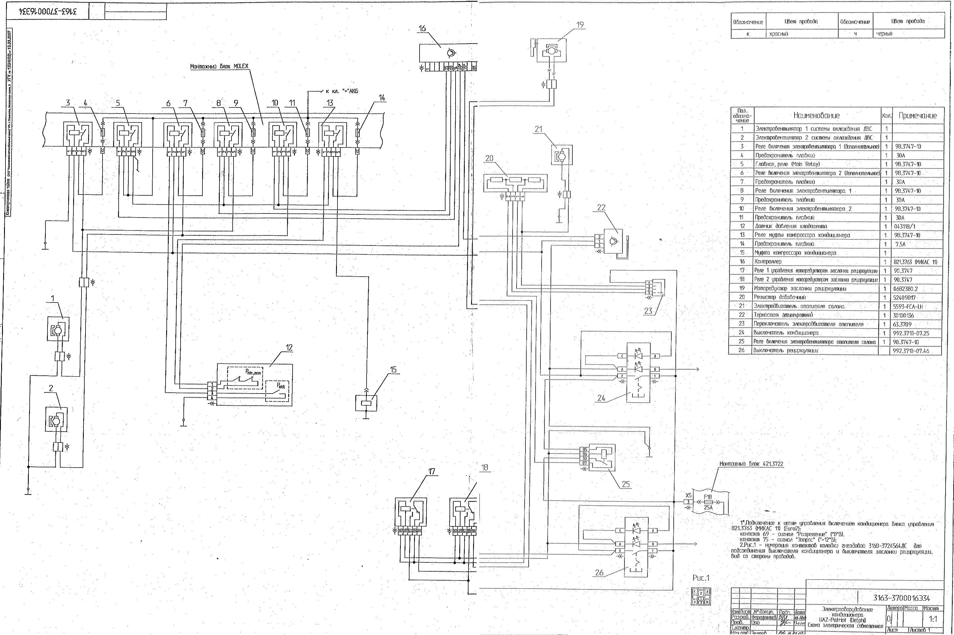 уаз патриот 2013 схема электрическая