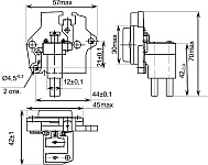 Габаритных чертеж, установочные и присоединительные размеры регулятора напряжения со щеточным узлом К1216ЕН1 с ЩДР