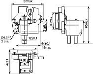 Габаритных чертеж, установочные и присоединительные размеры регулятора напряжения со щеточным узлом К442ЕН1 с ЩДР