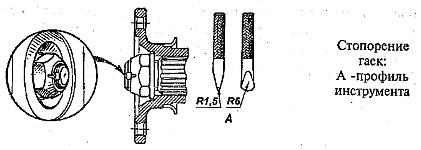 Вал установлен на двух подшипниках и фиксируется специальной гайкой, которая стопорится вдавливанием ее буртика в паз вала