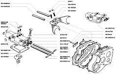 Механизм переключения передач раздаточной коробки УАЗ-3741, УАЗ-3962, УАЗ-3909, УАЗ-2206, УАЗ-3303 имеет две вилки, входящие своими лапками в соединение с подвижными шестернями