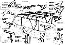 Металлический каркас тента УАЗ-3151, УАЗ-31512 и УАЗ-31519 совмещает в себе и дуги безопасности