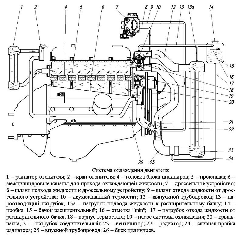 Система охлаждения газель 4216 схема